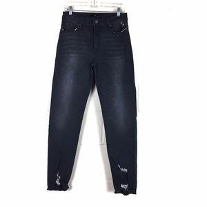 kancan black distressed ankle skinny jean size 11